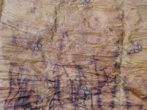 Beaded Silk showing marks of twine bundling