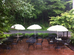 Rainy outdoor cafe