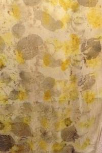 Rayon scarf with dogwood, smoke tree and marigolds